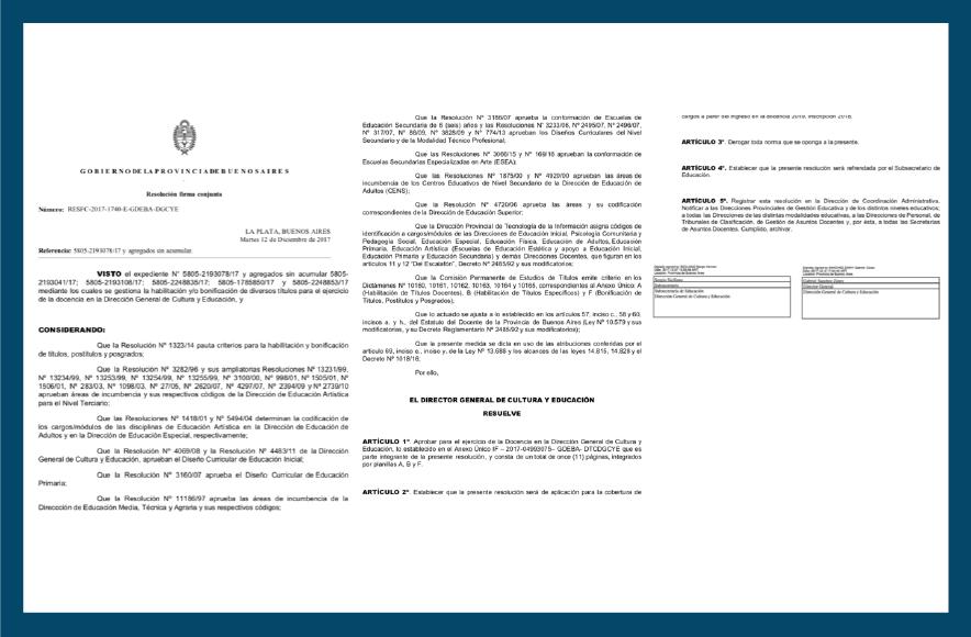 Captura de la resolución del dictamen de el tramo pedagógico